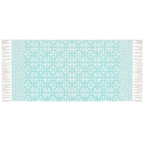 SHACOS Teppich Baumwolle Waschbar Blau Handgewebter Teppich Teppichläufer Flur Kleine Teppiche Läufer Teppich Wohnzimmer Küche Dekor 60x130cm