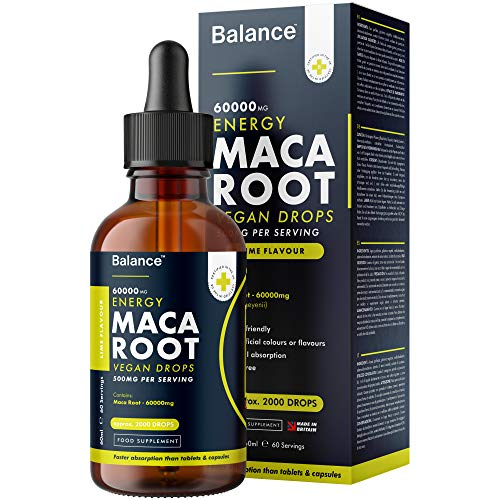 Balance Maca Root Liquid Vitamin Drops - High Strength 500mg - Natural Lime Flavour - Vegan Friendly - Sublingual Fast Absorption - Gluten Free - Made in The UK (60ml Bottle, 60 Servings)