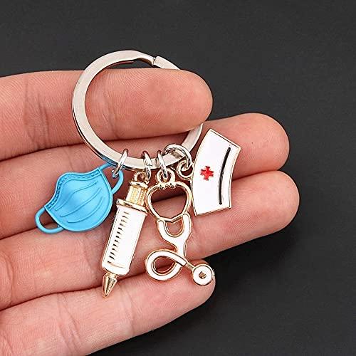 HAOBU Schlüsselanhänger Keychain Medical Tool Key Ring Injektionsspritze Stethoskop Krankenschwesterkappe Keychain Geschenk Schmuck