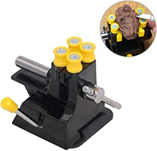 Eyech Adjustable Mini Suction Bench Vise Drill Press Vise Walnut Clamp Table Bench Vice for Jewelry Nuclear Craft Jade Clip On DIY Repair Carving Tool