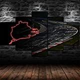 13Tdfc 5 Teilig Leinwand Wanddeko Gerahmte Rallye-Rennstrecke Auf Dem Nürburgring Malerei Leinwanddrucke Geschenk 5 Stück Leinwand Bilder Moderne Wandbilder XXL Wohnzimmer Wohnkultur 150X80Cm Rahmen