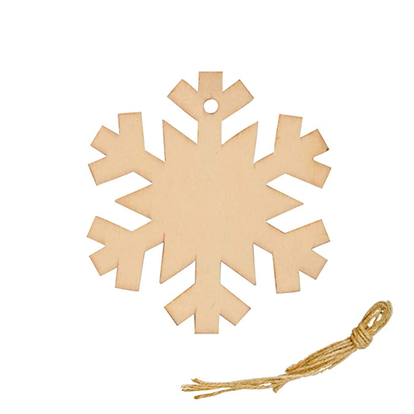 R STAR DIY Crafts Natural Wood Slices Christmas Tree Ornaments, Wooden Hanging Plaque Christmas Tree Decoration, Pack of 20(Snowflake)