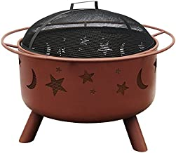 Landmann 28335 Big Sky Stars and Moons Fire Pit, Georgia Clay, 12.5-inches Deep