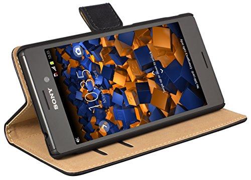 mumbi Tasche Bookstyle Hülle kompatibel mit Sony Xperia M4 Aqua Hülle Handytasche Hülle Wallet, schwarz