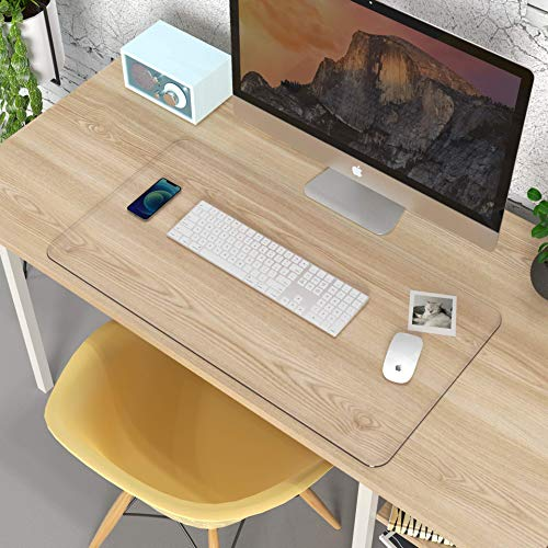 """Clear Writing Desk Pad, Heat Resistant Waterproof PVC Round Edge Durable Desk Protect Mat, Anti-Static Writing Mat-31.5''x15.7"""" Table Protector"""