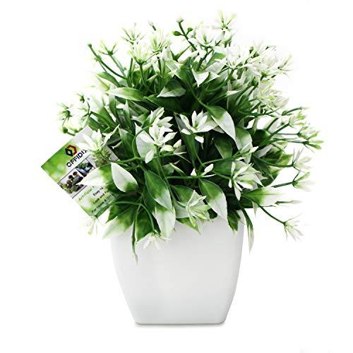 OFFIDIX Plantas artificiales, mini flores artificiales con macetas de plástico, cuadradas blancas, plantas de oficina, arbustos artificiales para baño, decoración de casa