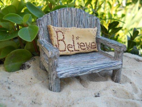 Miniature Fairy Garden - Bench w/ Believe Pillow (2-piece set)
