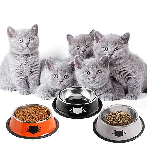 SKRTUAN Katzennäpfe, 3 Stück Futternapf Katze, Futternapf Katze Set, katzennapf,Futterschüssel Katze, Wasser Fütterung Schüssel, katzennäpfe Edelstahl
