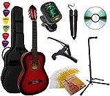 Pack Guitare Classique 4/4 (Adulte) 8 Accessoires Cour Vidéo et DVD … (Rouge)