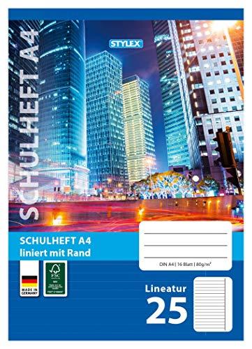 Stylex 29825-P25-25x Schulheft, Lineatur 25, 16 Blatt, DIN A4, 80 g/m²