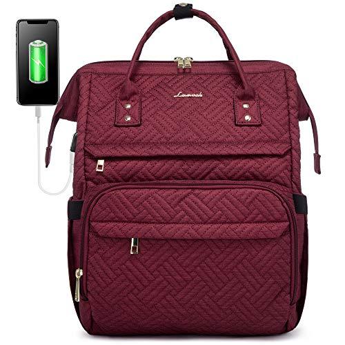 LOVEVOOK Laptop Rucksack Damen 15,6 Zoll, Schulrucksack Daypack wasserdichte, Business Rucksäcke mit Laptopfach und Anti-Diebstahl Tasche, für Reisen Herren, Weinrot
