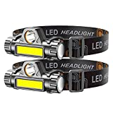 LED headlamp flashlight 2-PACK LED Rechargeable Headlamp Headlight for Running, Camping, Hiking and More Lumens USB Rechargeable Headlight, Outdoor Camping Cycling Fishing, headlamp flashlight