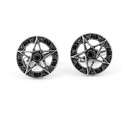 Pentagram Gotisch Gothic Schwarz Manschettenknöpfe