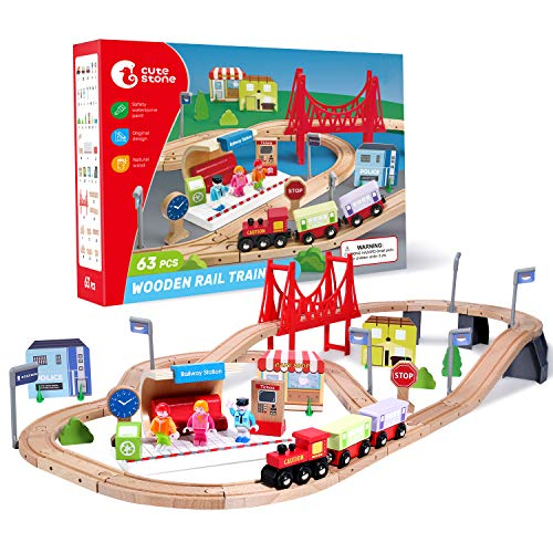 CUTE STONE 63 Pcs Wooden Train Set for Toddlers, Kids Tracks Set with Magnetic Train Cars, Bridge and Buildings, Play Figurines, Fits Thomas Brio Chuggington, Toy Gift for 3+ Years Old Boys and Girls