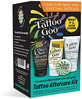 Tattoo Goo Aftercare Kit Brighten Colors & Soothes Skin - Includes Healing Balm Moisturizing Lotion Deep Cleansing Soap + Renew Enhancing Lotion with SPF 30 - Cruelty-Free Natural Ingredients