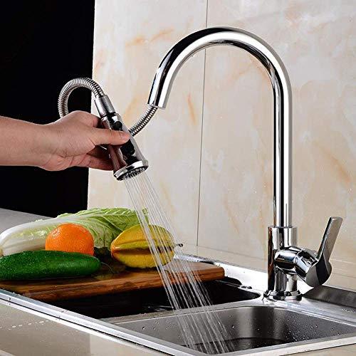 WYZXR Grifo Mezclador para Fregadero de Cocina,Grifo de Cocina extraíble para Utensilios de Cocina,Grifo para Lavar Verduras,Spray de 2 Modos,con Grifo Giratorio de 360 Grados/Plateado/A