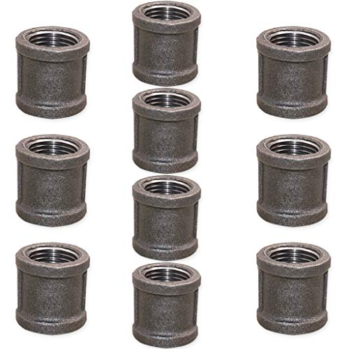 Brooklyn Pipe 1/2 Inch Pipe Coupler Threaded Malleable Iron Coupling, 10 Pack