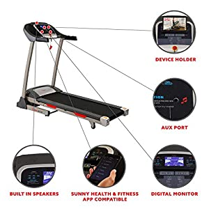 Sunny Health & Fitness Portable Treadmill with Auto Incline, Device Holder, Pulse Grips, 220 LB Max Weight and Shock Absorbers - SF-T7705