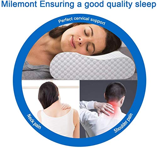 Milemont Memory Foam Pillow, Cervical Pillow, Orthopedic Contour Pillow Support for Back, Stomach, Side Sleepers, Bed Pillows for Sleeping, CertiPUR-US, Queen Size
