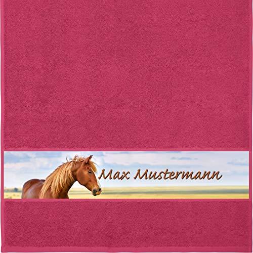 Manutextur Handtuch mit Namen - personalisiert - Motiv Tiere - Pferd - viele Farben & Motive - Dusch-Handtuch - Fuchsia - Größe 50x100 cm - persönliches Geschenk mit Wunsch-Motiv und Wunsch-Name