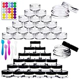 Youngever 140 Pcs Empty Plastic Cosmetic Samples Containers, Plastic Jars With Lids, 5 Mini Spatulas (3 Gram)
