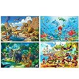 GREAT ART® Set mit 4 Kinder-Poster – Cartoon Klassiker – Jungen Mädchen Zimmer Piraten Fische Dinos Kindergarten Wanddeko Hintergr& Plakat Dekor Bild (Din A2 - 42 x 59,4)