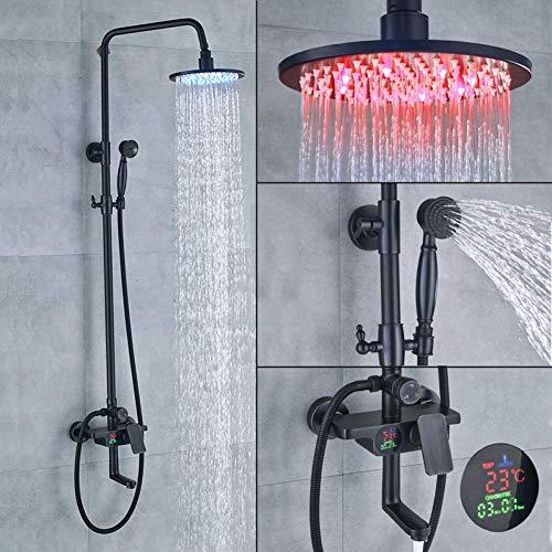 LILICEN CY Juego de Ducha de Negro for el baño, 8 'de Ducha Monomando con Efecto Lluvia y el Interruptor de Ducha de Mano de 3 Funciones, Caliente y fría de Mezcla