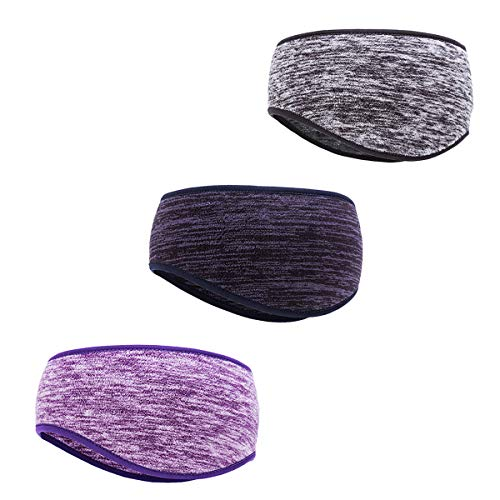 3 Pieces Ear Warmer Headband Fleece Winter Headbands Full Cover Ear Muffs Headband for Women Men Outdoor Sports Fitness (A)