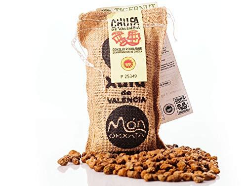 Saco yute 250 gr. Chufa tradicional D.O. València - Món Orxata. Directa de familias agricultoras. Ideal para consumo crudo o elaboración de horchata. Conservar a menos de 15º.