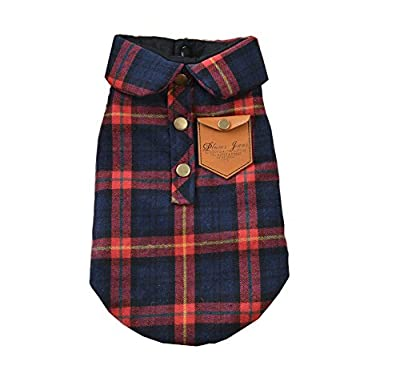 ZoonPark® Dog Clothes, England Plaid Double Layer Flannel Shirt Autumn Winter Dog Clothes for Small or Medium Dog Pet Clothing Chihuahua Yorkshire Poodle (L (Back 32cm), Red)