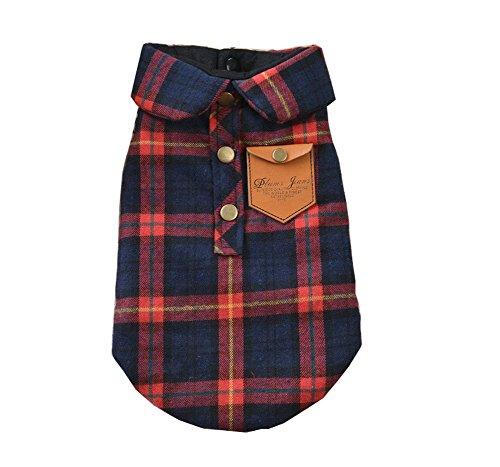 zoonpark® Perro Ropa, Inglaterra Plaid doble capa franela camisa otoño invierno perro ropa para pequeño o mediano Perro Mascota Ropa Chihuahua Yorkshire caniche