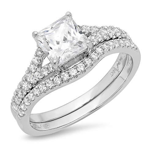 Clara Pucci 1.91 CT Princess Cut CZ Pave Halo Bridal Engagement Wedding Ring band set 14k White Gold, Size 5