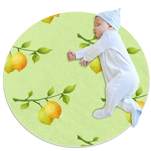 TIZORAX Novelty Doormats Indoor Washable Entrance Rug Absorbent Non Slip Carpet Blanket Foot Mat Round Vitamin C Lemon