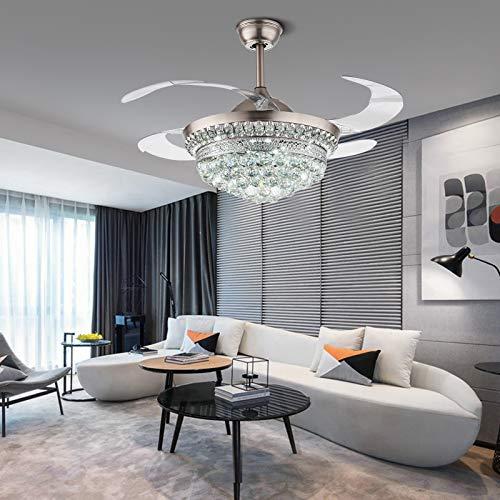 Moderno ventilador invisible de 42 pulgadas, ventilador de techo con mando a distancia y luz LED para salón, 3 cambios de color (blanco y amarillo cálido) para pasillo, salón, dormitorio