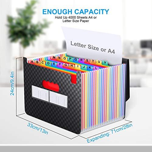Accordian File Organizer 24 Pockets - Expanding File Folder Expandable Cover,Portable Filing Box,Desktop Accordion Folders,Plastic Colored Paper Document Paperwork Receipt Organizer(A4/Letter Size) Photo #5