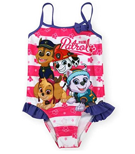 Little Toddler Girls 1 Piece Pink/White Striped Paw Patrol Swimsuit with Bow Detail (2T)