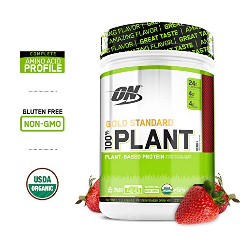 OPTIMUM NUTRITION GOLD STANDARD 100% Organic Plant Based Vegan Protein Powder, Berry, 1.51 Pound