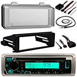 Kenwood Single DIN Marine Radio CD Receiver Bundle, 1998 2013 Harley Davidson Touring Flht Flhx Flhtc + Adapter Dash Kit with Handlebar Control Module + Weathershield Cover + Wire Antenna