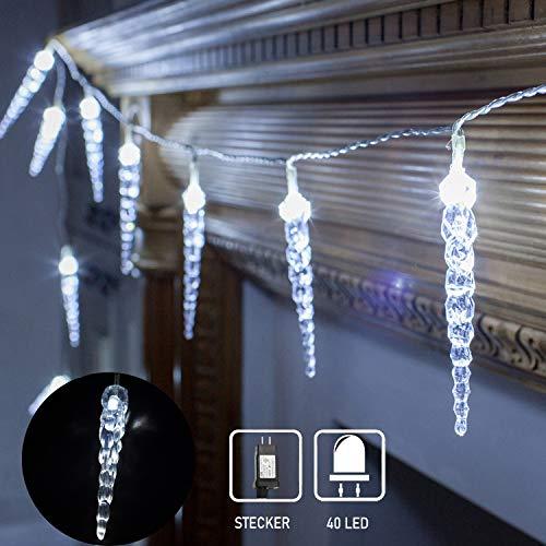 40 LED Lichterkette, LED Eiszapfen wasserfest Lichtervorhang für Innen Außen Garten Balkon Party Hochzeit Fenster Wand Weiß