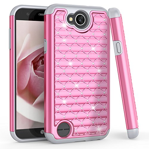 TILL for LG X Charge Case, LG Fiesta LTE/LG K10Power Cute Case, Studded Rhinestone Bling Diamond Sparkly Luxury Shock Absorbing Hybrid Defender Rugged Glitter PC Case Cover for LG X Power 2 [Pink]