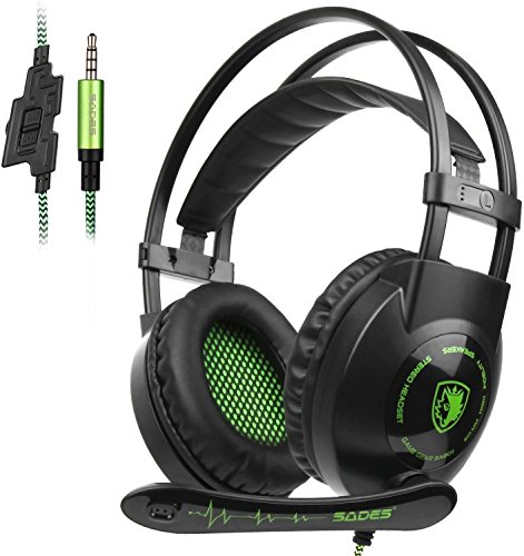 Sades SA801 3.5 mm Surround Sound stereo PC Gaming Headset Headband Gaming cuffie con microfono, controllo del volume e isolamento acustico per New PS4 Xbox One PC MAC tablet laptop Phone (verde)