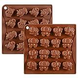 KBstore 2 Stück Silikon Schokoladenform Pralinenform - Elefanten Form und Cat Form Silikonform für Schokoladen Herstellen - Silikon backform für Schokolade/Süßigkeit/Gelee/Eiswürfel #1