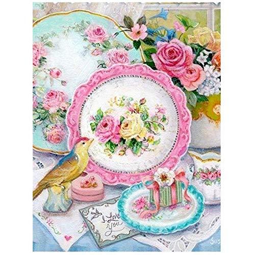 GHSFFMN Pintar por Números Kits 16x20 Pulgadas Pintura por números con Pinceles y Pinturas,DIY Pintura al Óleo por Números,Decoraciones para el Hogar - Pájaros Y Flores de Colores