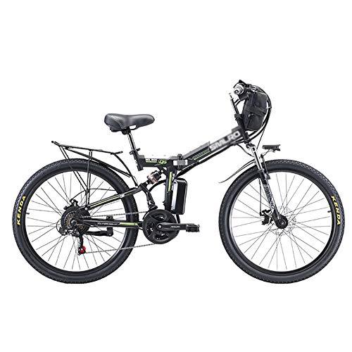 Plegable Eléctrico Bicicleta De Montaña,Rueda Litio-Ion Batter Bicicleta Eléctricoa,3 Modos De Conducción Ebike para Adultos Al Aire Libre Ciclismo Negro 350w 48v 8ah