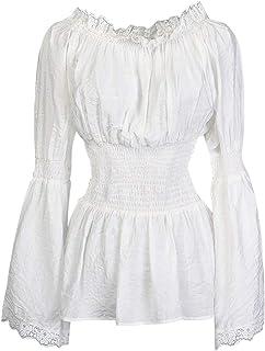 CHARMIAN Women's Long Sleeve Off Shoulder Lace Trim Blouse Tops