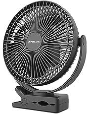 OPOLAR 充電式クリップ扇風機 大容量10000mAh電池内蔵 卓上扇風機 風量4段階調整 MicroUSB・type-C端子搭載 スマート急速充電対応 17cm大型ファン搭載 デスク・リビング・野外など
