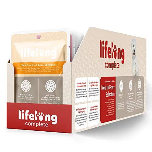 Marca Amazon - Lifelong Alimento completo para perros adultos - Selección de carne en salsa, 2,4 kg (24 bolsitas x 100g) ✅