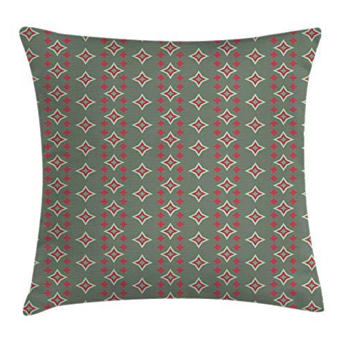 Funda de cojín de almohada retro, formas de estrella anidadas grandes y pequeñas, patrón de arte vintage de rayas verticales, funda de almohada decorativa con acento cuadrado, espuma de mar rojo verde