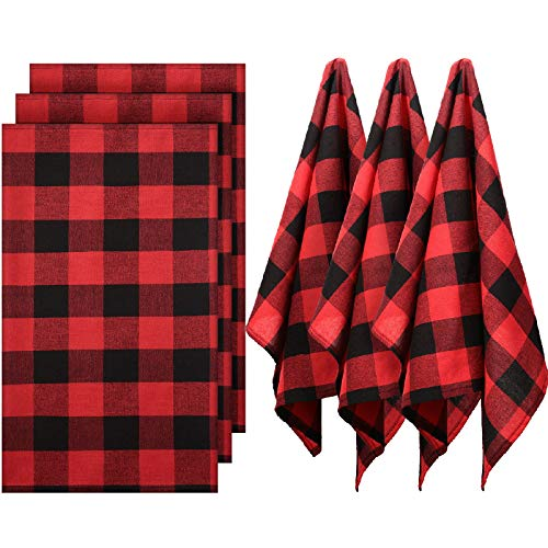 6 Pieces Christmas Buffalo Check Plaid Dish Napkins, Xmas 18 x 28 Inch Farmhouse Rustic Plaid Kitchen Towels Checked Napkin Kitchen Tea Towels for Cleaning Drying Cooking Baking (Red Black)
