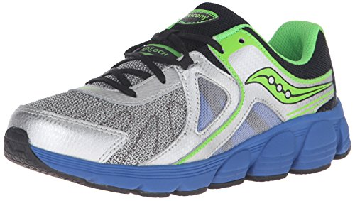 SAUCONY Saucony Kotaro 3 Sneaker (Little Kid), Silver/Black/Blue, 12 M US Little Kid